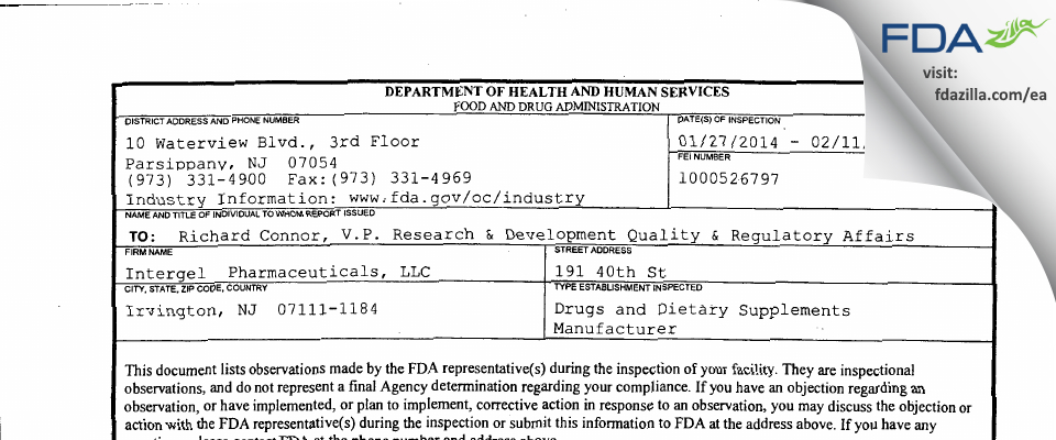 Intergel  Pharmaceuticals FDA inspection 483 Feb 2014