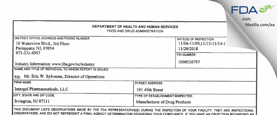 Intergel  Pharmaceuticals FDA inspection 483 Nov 2018