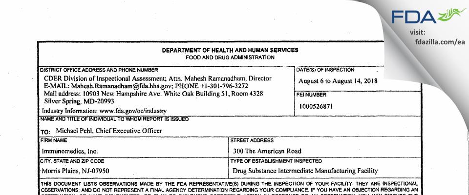 Immunomedics FDA inspection 483 Aug 2018