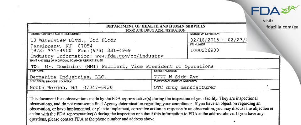 Dermarite Industries. FDA inspection 483 Feb 2015