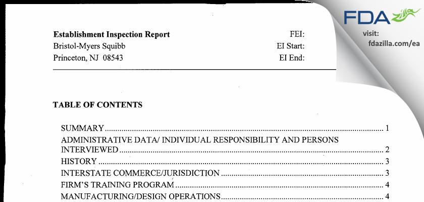 Bristol-Meyers Squibb FDA inspection 483 Jul 2011