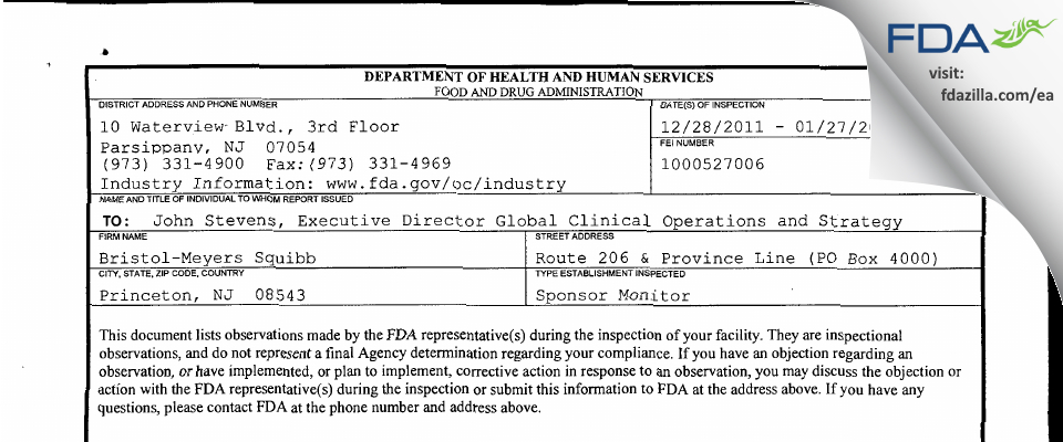 Bristol-Meyers Squibb FDA inspection 483 Jan 2012