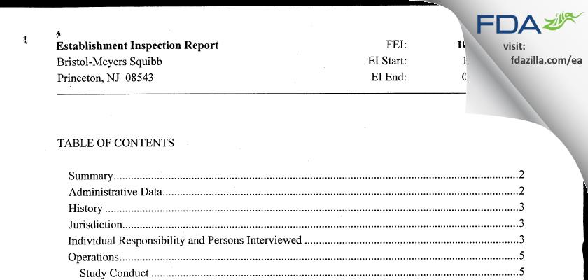 Bristol-Meyers Squibb FDA inspection 483 Jan 2012