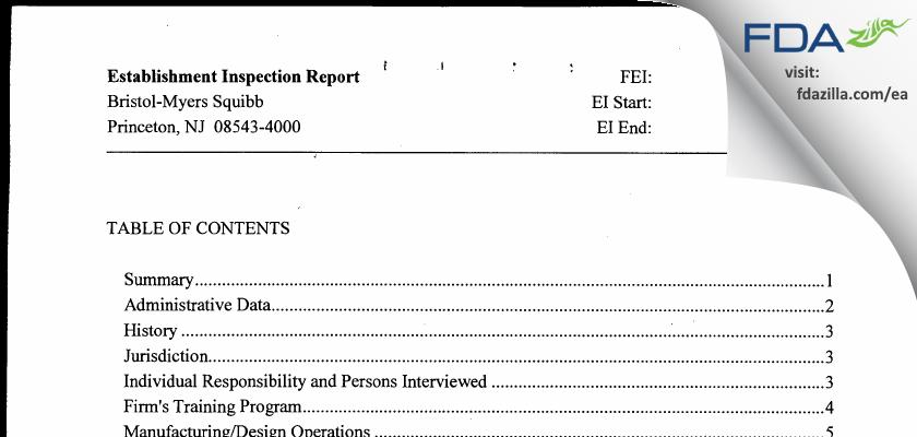 Bristol-Meyers Squibb FDA inspection 483 Apr 2012