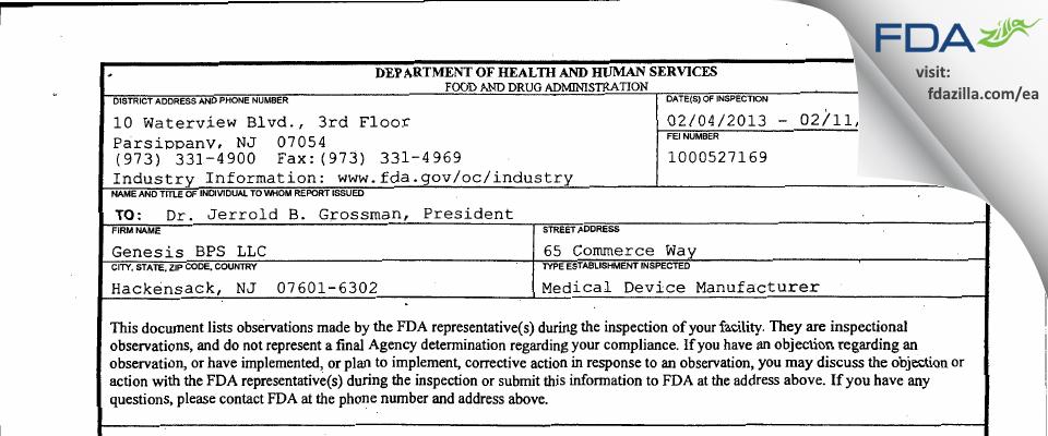 Genesis BPS. FDA inspection 483 Feb 2013