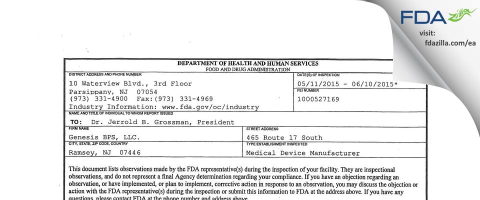 Genesis BPS. FDA inspection 483 Jun 2015