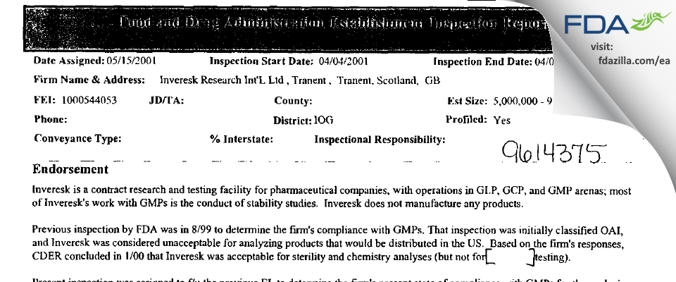Charles River Labs Preclinical Services Edinburgh FDA inspection 483 Apr 2001