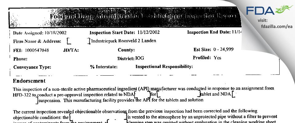 Romark Belgium BVBA FDA inspection 483 Nov 2002