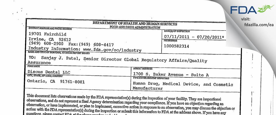 Discus Dental FDA inspection 483 Jul 2011