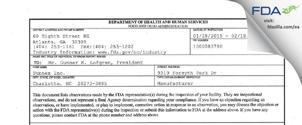 Sunnex FDA inspection 483 Feb 2015