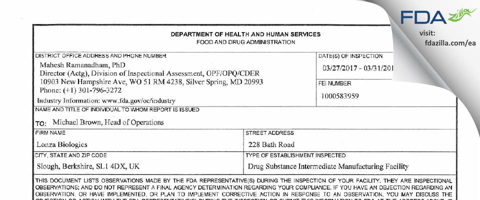 Lonza Biologics Plc FDA inspection 483 Mar 2017