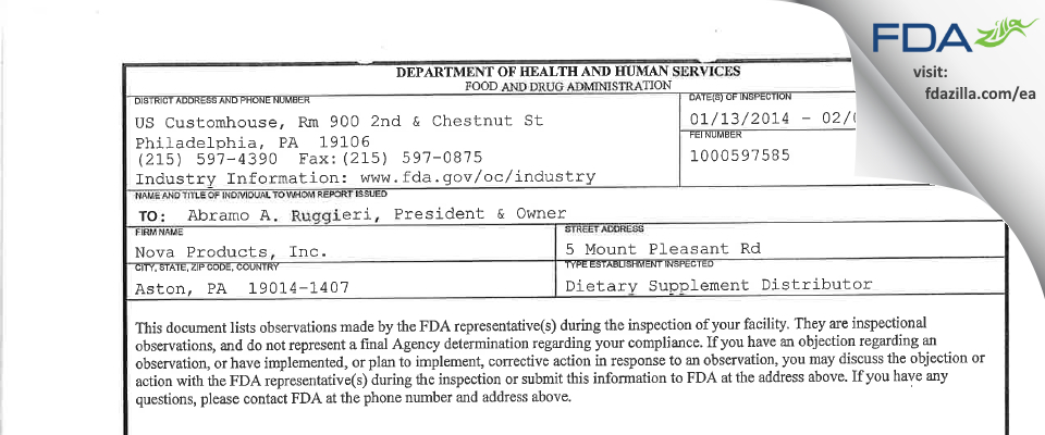 Nova Products FDA inspection 483 Feb 2014