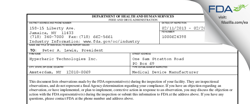 Hyperbaric Technologies FDA inspection 483 Feb 2013