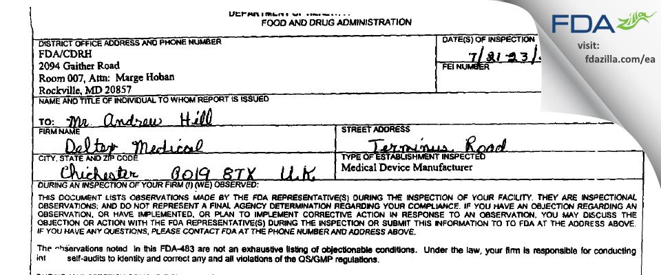 Deltex Medical FDA inspection 483 Jul 2003