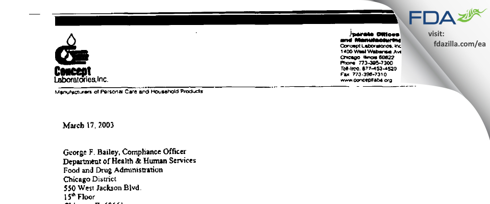 Concept Labs FDA inspection 483 Jan 2003