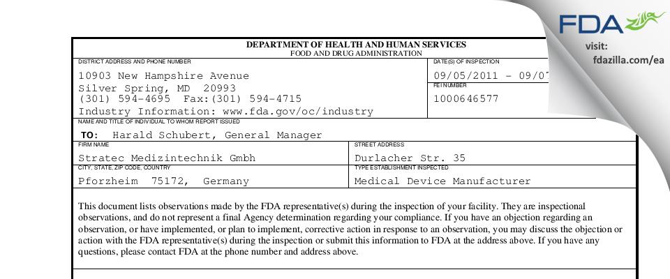 Stratec Medizintechnik Gmbh FDA inspection 483 Sep 2011
