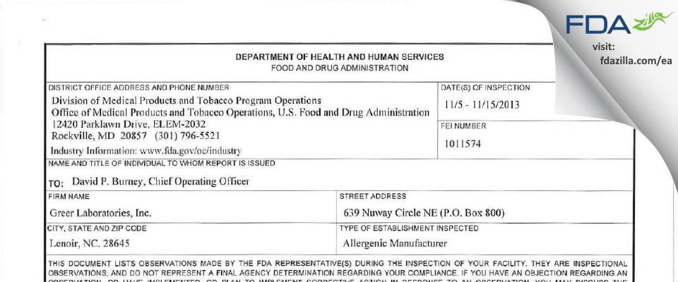 Greer Labs FDA inspection 483 Nov 2013