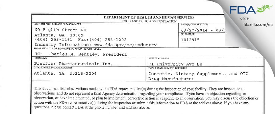 SSS Company FDA inspection 483 Mar 2014