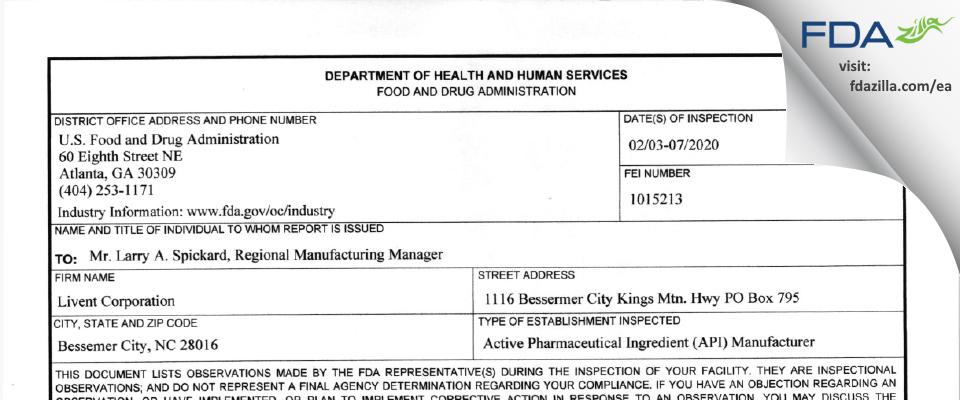 FMC FMC Lithium Division FDA inspection 483 Feb 2020