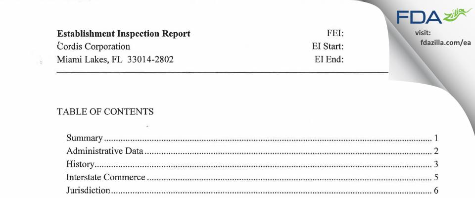 Cordis FDA inspection 483 Jan 2014