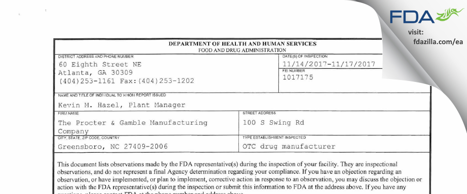 The Procter & Gamble Manufacturing Company FDA inspection 483 Nov 2017