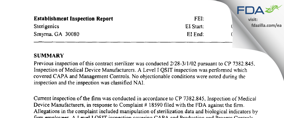 Sterigenics US FDA inspection 483 Jul 2003