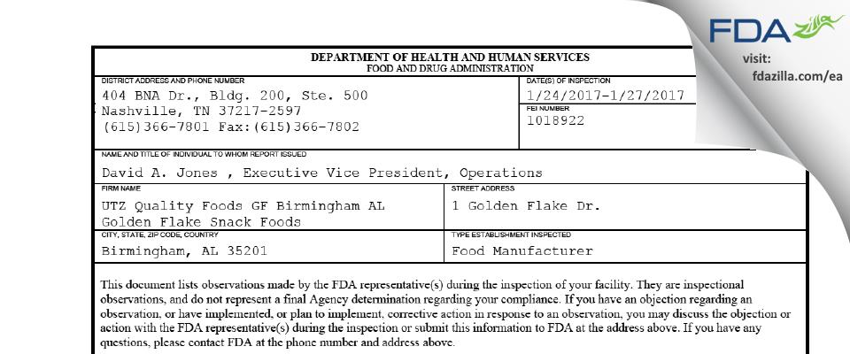 Golden Flake Snack Foods FDA inspection 483 Jan 2017