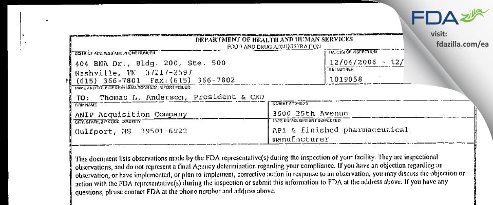 GCP Labs FDA inspection 483 Dec 2006