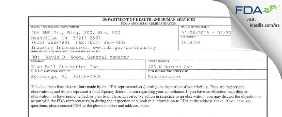Blue Bell Creameries FDA inspection 483 Apr 2015