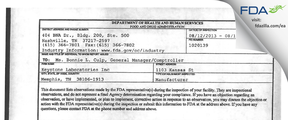 Keystone Labs FDA inspection 483 Aug 2013