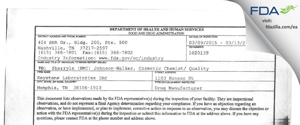 Keystone Labs FDA inspection 483 Mar 2015