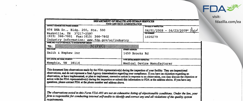 Smith & Nephew FDA inspection 483 Apr 2009