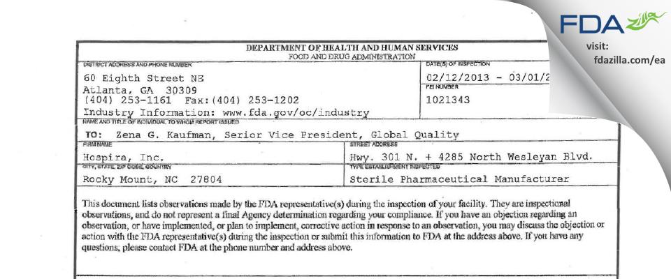 Hospira FDA inspection 483 Mar 2013