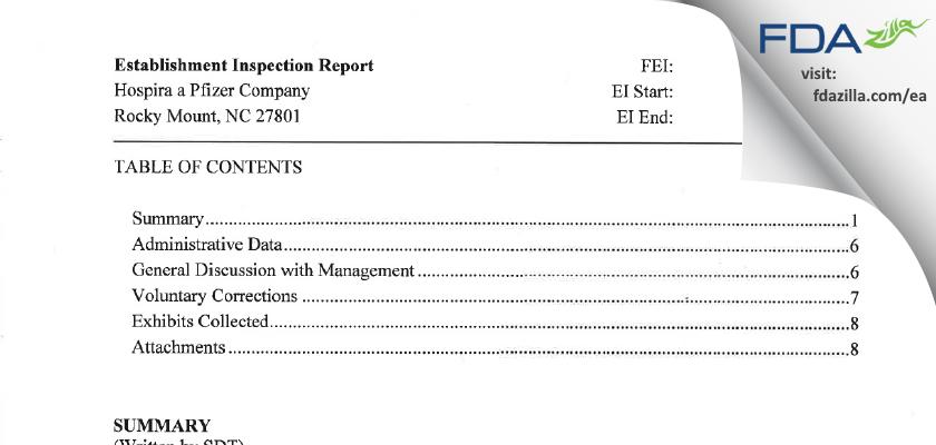 Hospira FDA inspection 483 May 2016