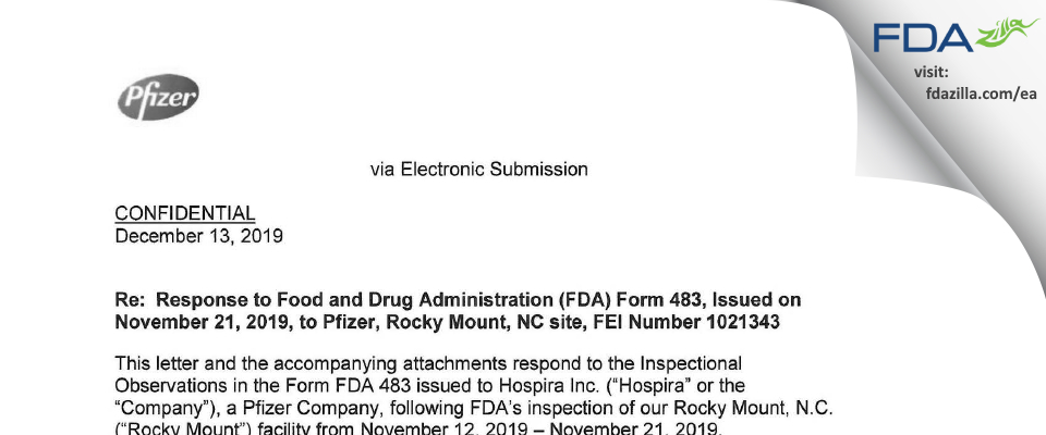Hospira FDA inspection 483 Nov 2019