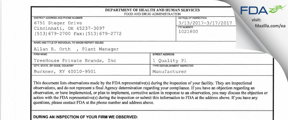 TreeHouse Private Brands FDA inspection 483 Mar 2017