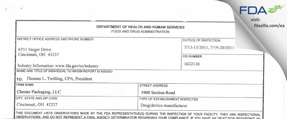 Medline Industries FDA inspection 483 Jul 2011