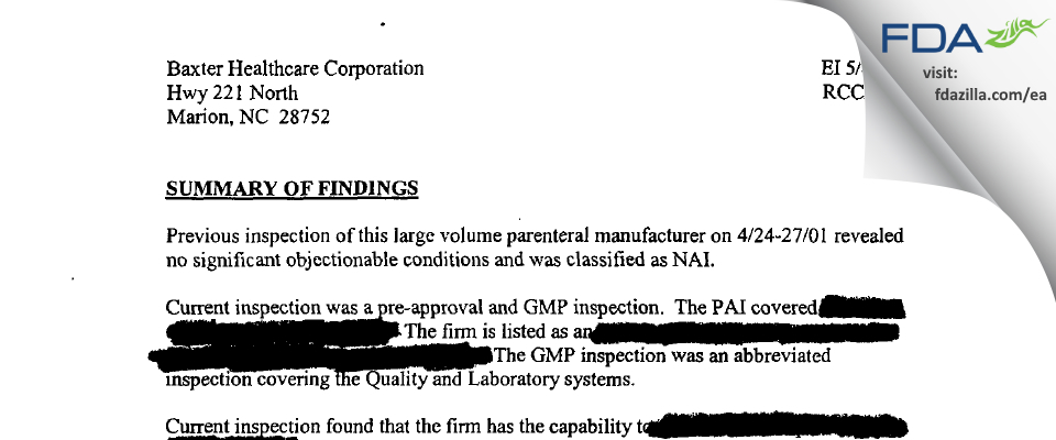 Baxter Healthcare FDA inspection 483 May 2004