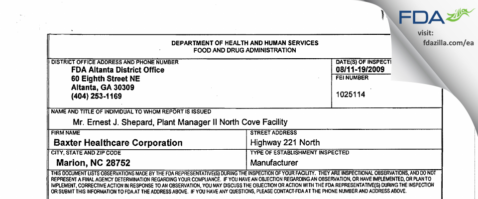 Baxter Healthcare FDA inspection 483 Aug 2009