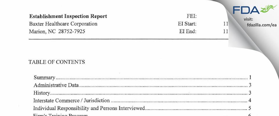 Baxter Healthcare FDA inspection 483 Nov 2012