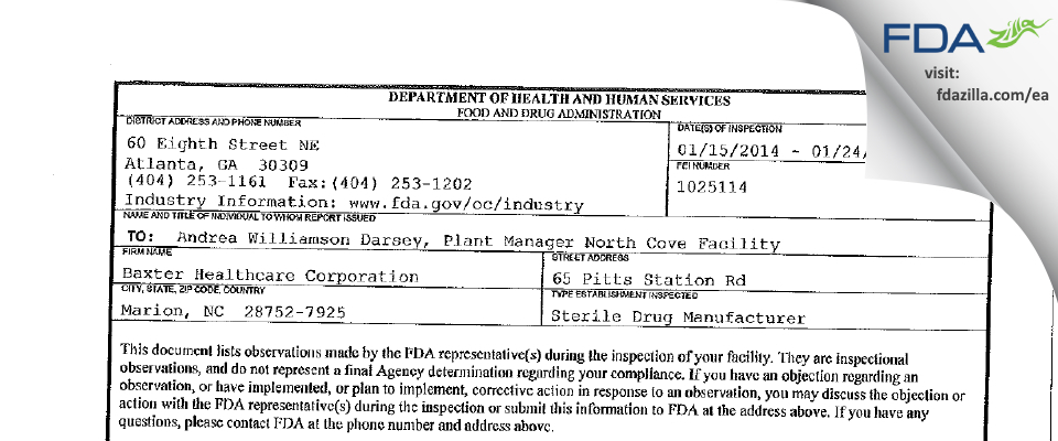 Baxter Healthcare FDA inspection 483 Jan 2014