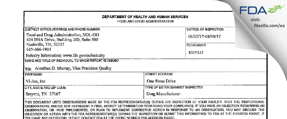 Vi-Jon FDA inspection 483 Aug 2017