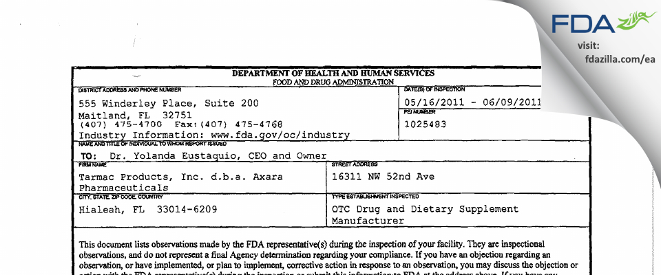 Tarmac Products FDA inspection 483 Jun 2011