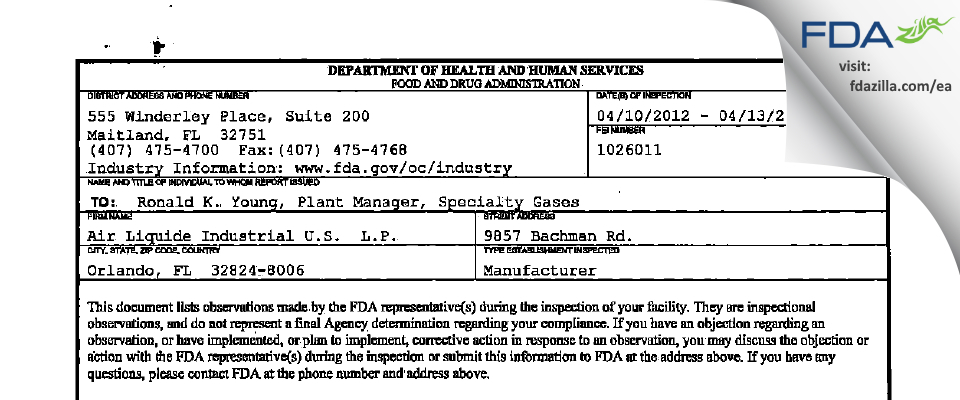 Air Liquide Industrial U.S.  L.P. FDA inspection 483 Apr 2012