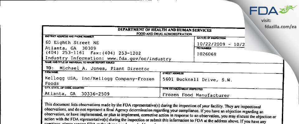 Kellogg USA/Kellogg Company-Frozen Foods (Eggo) FDA inspection 483 Oct 2009