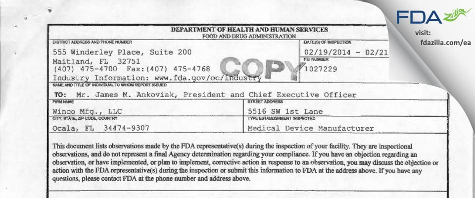 Winco Mfg. FDA inspection 483 Feb 2014