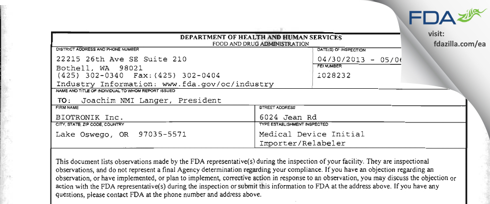 BIOTRONIK FDA inspection 483 May 2013