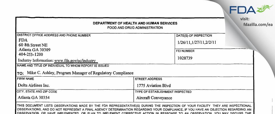 Delta Air Lines FDA inspection 483 Feb 2011