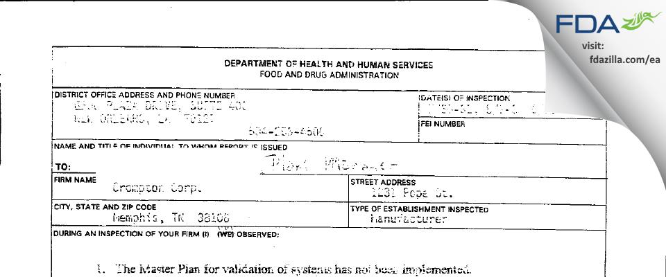 PMC Biogenix FDA inspection 483 Aug 2001