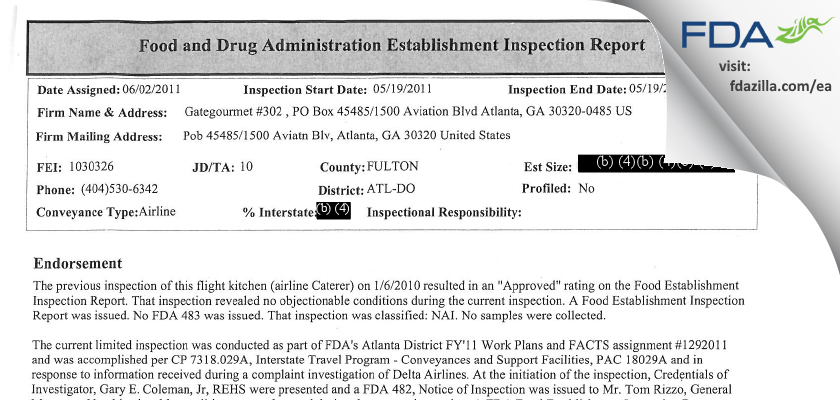 Gate Gourmet #302 FDA inspection 483 May 2011